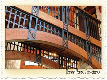 Timber Frame with curved laminations - Nicola LogWorks