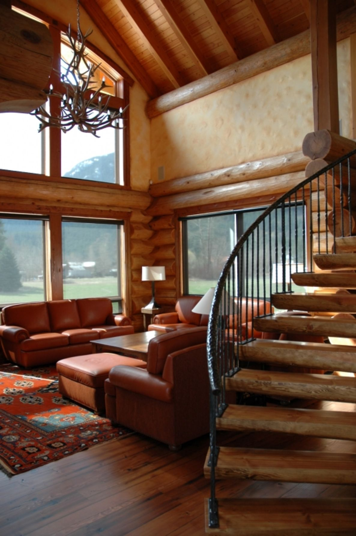 Log Stairs and Hand-Railing