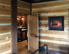 chinked log home panel