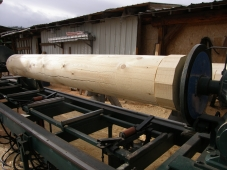 John's custom built lathe. We use is for lathing various profiles on large, long logs.