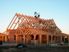 Dovetail walls with a timber frame roof. A lovely home for lovely customers in Ontario