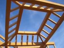 detail of timber roof pre-assembled during re-set.