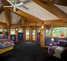 Main bedroom in the Port Angeles Piece-en-piece. (Actually the only bedroom!) Think about that when you are making the plans for your log home. Do you want company...or not?