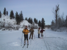 skiing on the river