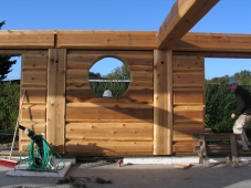 Flattened log walls
